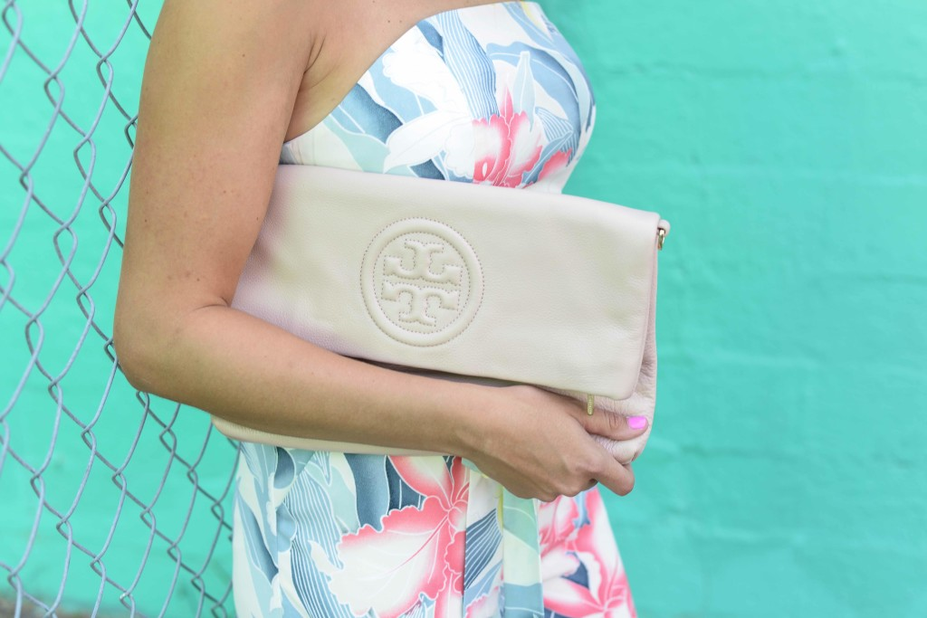 ASOS FLORAL BANDEAU JUMPSUIT TORY BURCH BOMBE FOLDOVER CLUTCH