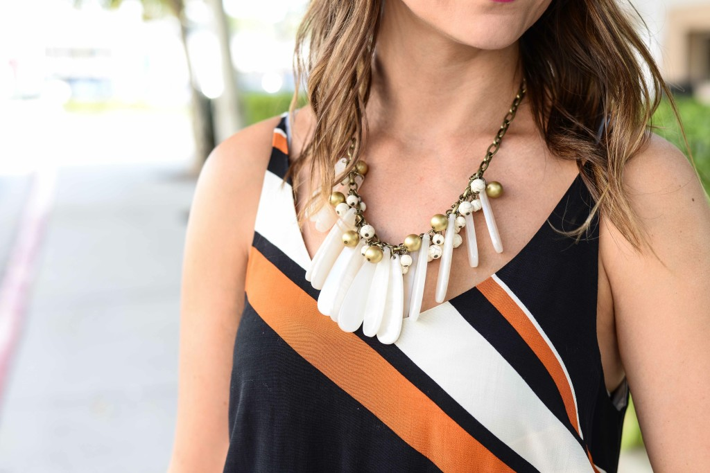 Topshop Diagonal Stripe Slipdress ANTHROPOLOGIE SEAS BIB NECKLACE