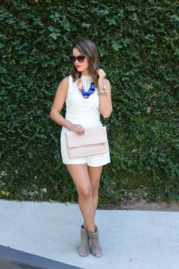 Topshop Lace Inset High Neck Romper + Anthro Ellesiv Link Necklace