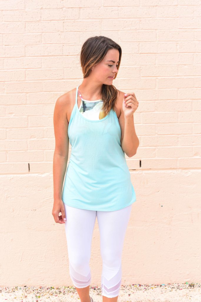 Wondering what to wear to hot yoga? This Anthropologie sports bra, Zella tank, and Alo pants are perfectly fashionable and functional