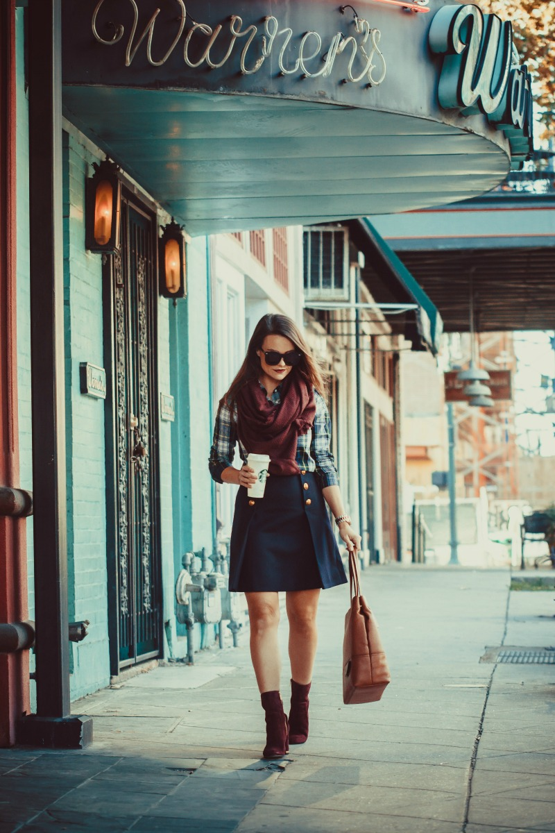 Navy Sailor Skirt on Anna English of Houston Fashion Blog The Styled Fox