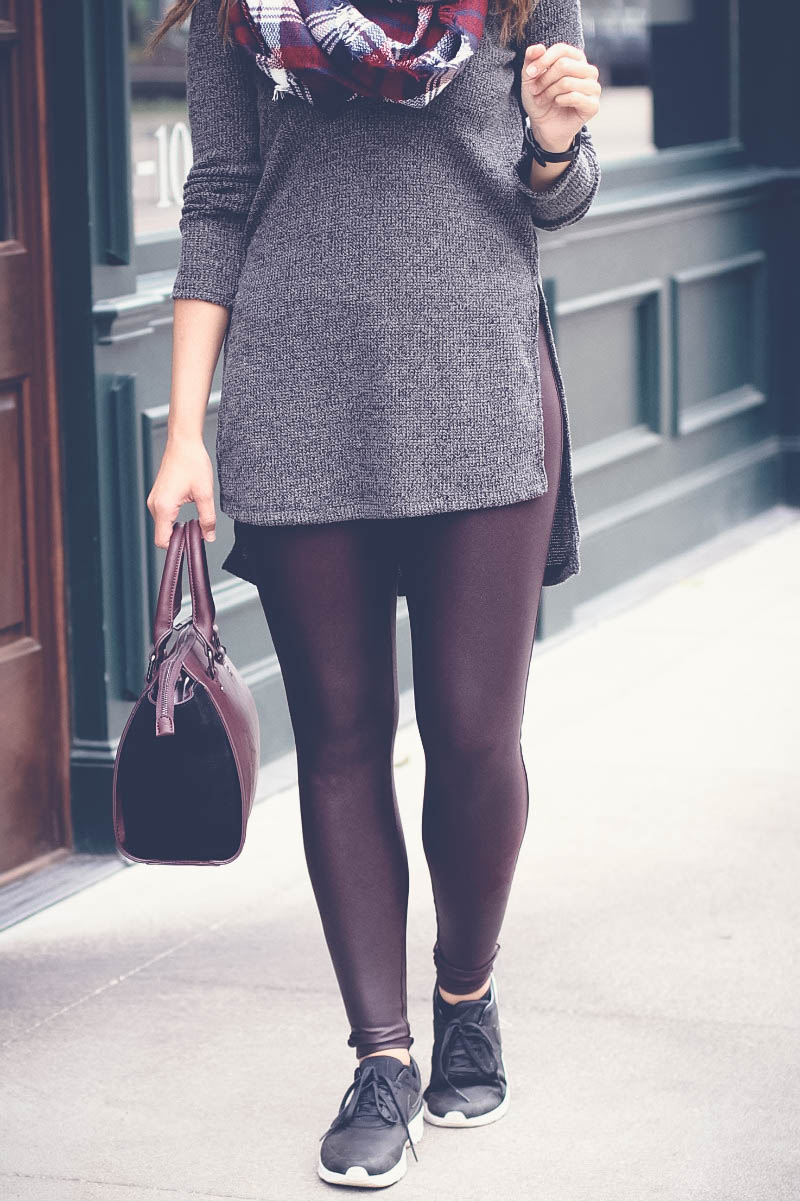 ASTR side split sweater, Sole Society Faux letter and suede satchel, Spanx faux leather leggings