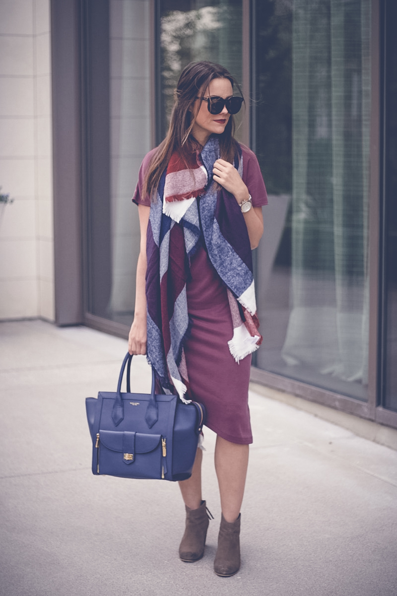 Topshop Asymmetric Midi Dress, Sole Society Plaid Scarf, Henri Bendel Rivington Tote