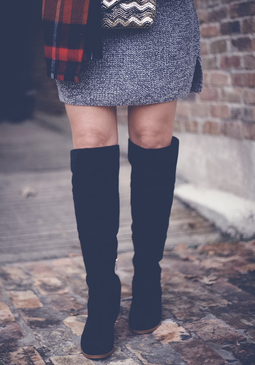 TOPSHOP Funnel Neck Sweater Dress, MARC FISHER Over the Knee Boots, TOPSHOP Plaid Scarf