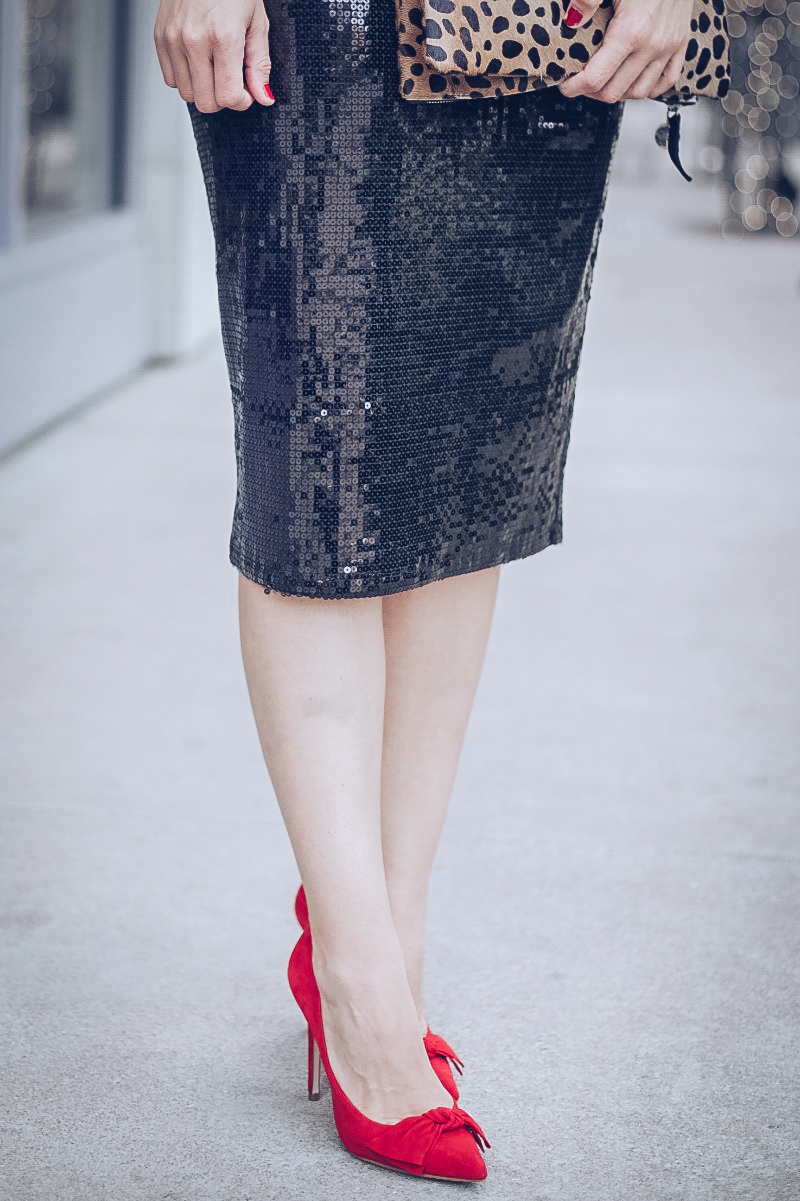J CREW Plaid, CLARE V Leopard Clutch, VINCE CAMUTO Sequin Skirt