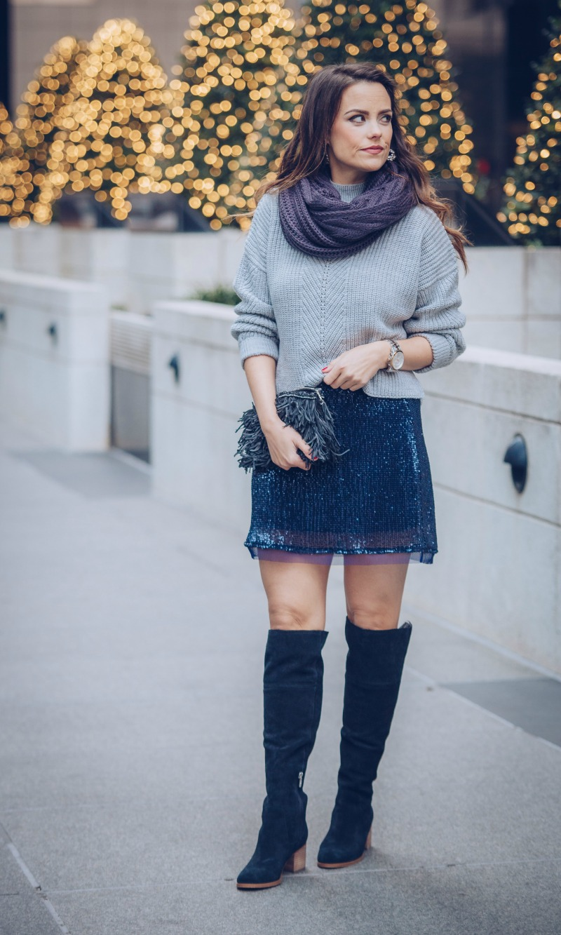 Free People Sequin MIni Skirt, March Fisher Over The Knee Boots