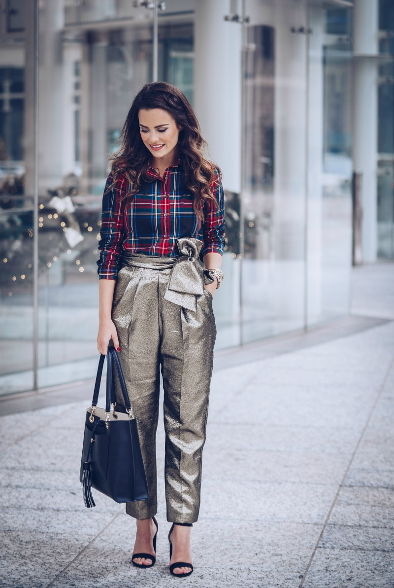 TOPSHOP Lamé Sash Carrot Trousers, J CREW Stewart plaid, HENRI BENDLE Worth Tote