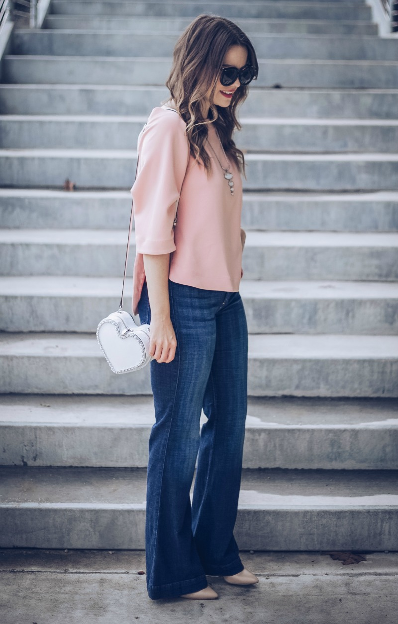 GIBSON Tie Back Top, High Rise Flare Jeans