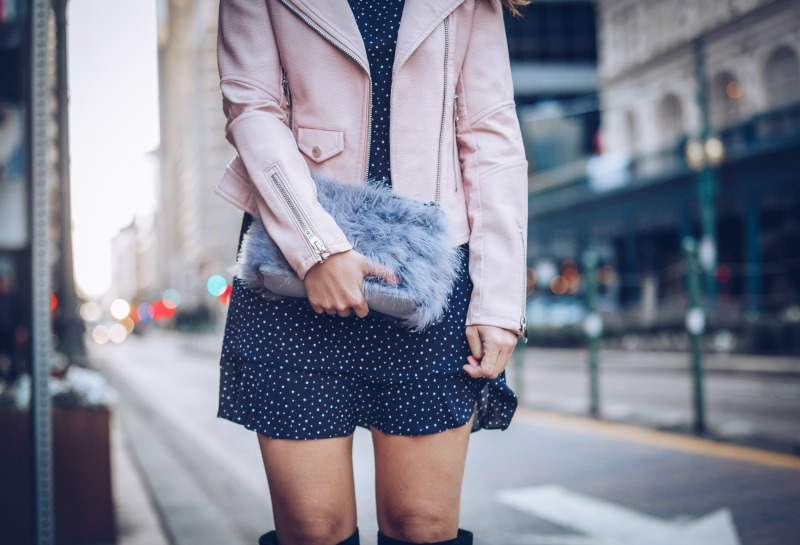 TOPSHOP Star Ruffle Dress, BLANKNYC Blush Faux Leather Jacket