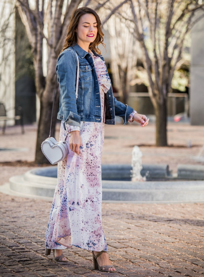 FREE PEOPLE Star Maxi Dress, REBECCA MINKOFF Heart Crossbody Bag, Jean Jacket