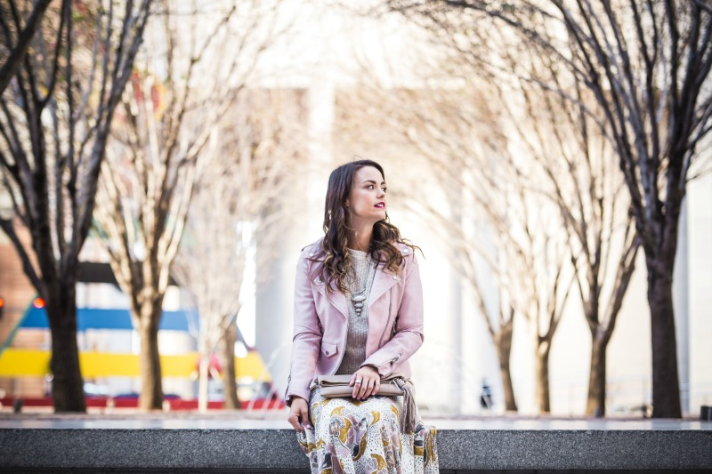 FREE PEOPLE Pebble Fate Skirt, BLANKNYC Faux Leather Jacket, FREE PEOPLE Electric City Pullover Sweater