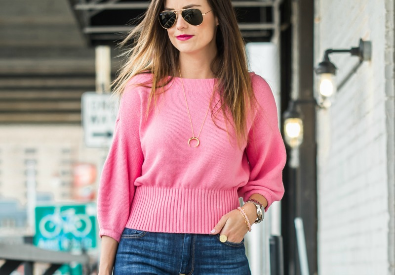 Galentine's Day Date outfit, Anthropologie Cropped Balloon Sleeve Pullover, 7 for all mankind jeans