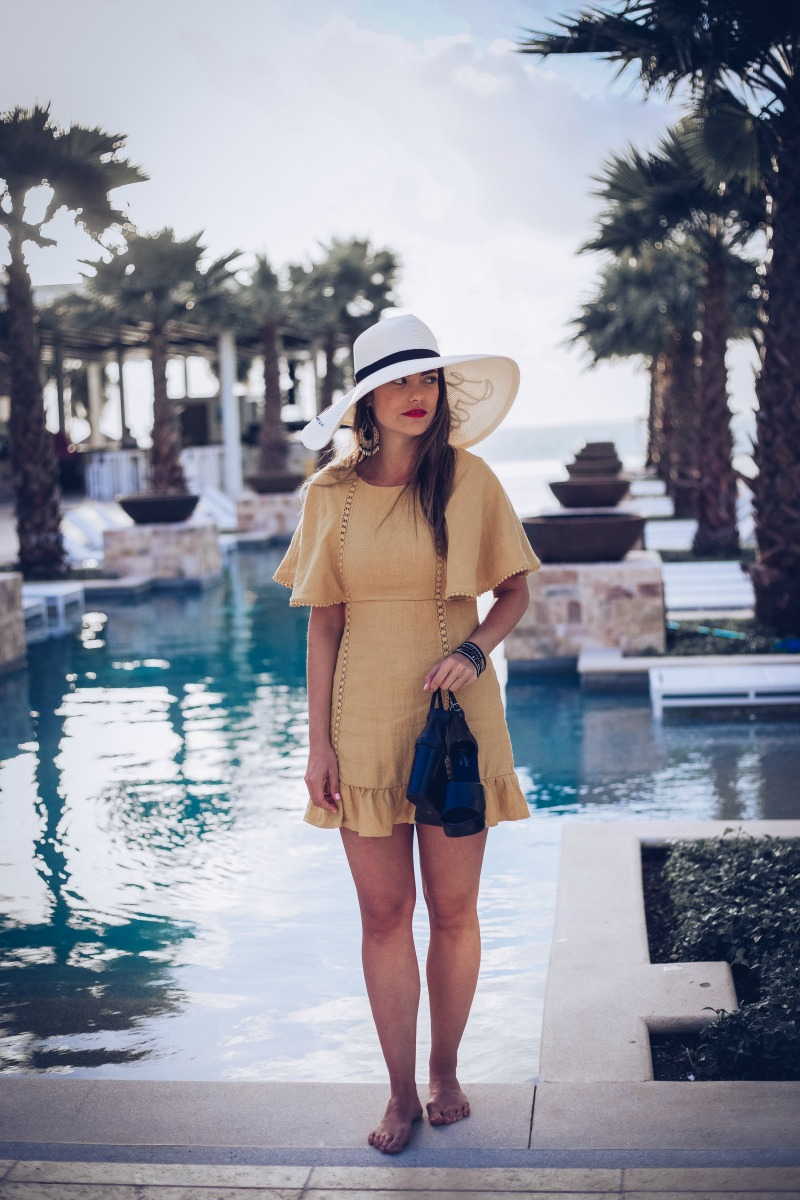 ANTHROPOLOGIE Fluttered and Flounced Dress, Eugenia Kim Greetings From Hat