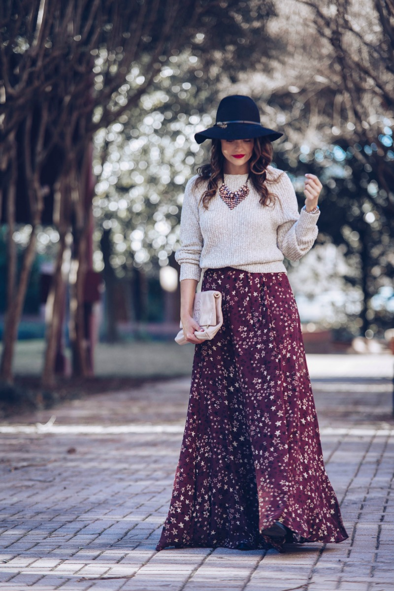 HOUSE OF HARLOW Willow Star Print Skirt, FREE PEOPLE Electric City Pullover Sweater