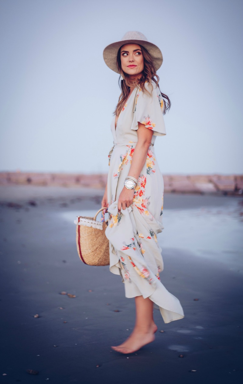 PRIVACY PLEASE Floral Wrap Maxi Dress in Mint
