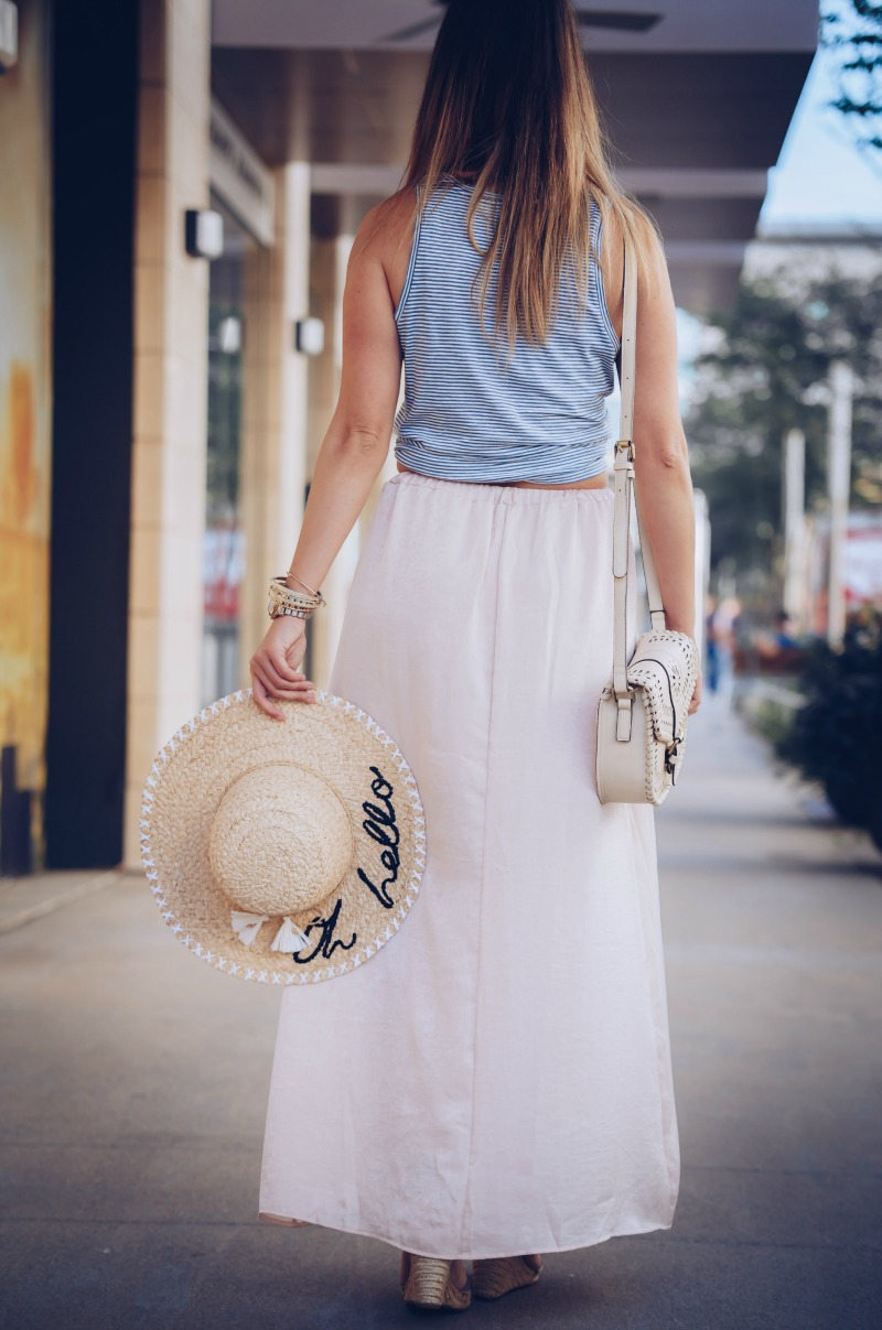 SUN & SHADOW BOHEMIAN MAXI SKIRT, MADEWELL STRIPE COTTON TANK