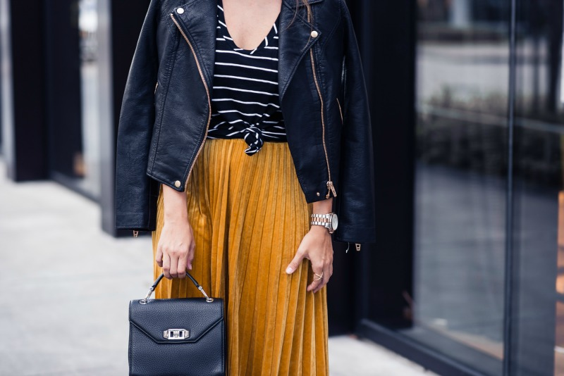 NSALE GOLD AND BLACK, NORDSTROM ANNIVERSARY SALE, CHELSEA28 PLEATED VELVET SKIRT, BLANKNYC Life Changer Moto Jacket