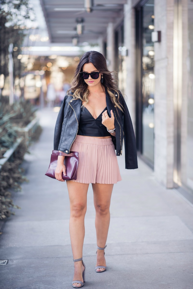 NSALE, NORDSTROM ANNIVERSARY SALE, BLANKNYC life changer moto jacket, Leith High Waist Pleat Shorts, Leith Faux Leather Longline Bralette