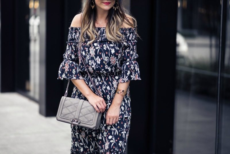 CHELSEA28 FLORAL OFF THE SHOULDER MIDI DRESS